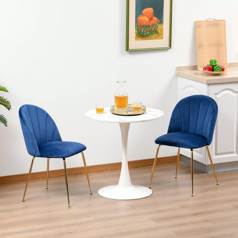 HOMCOM® 2er-Set Esszimmerstühle Küchenstuhl mit Rückenlehne blau+Gold