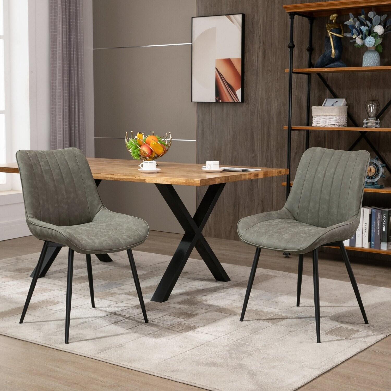 HOMCOM® 2 tlg. Set Esszimmerstuhl Küchenstuhl mit Rücklehne Kunstleder Stahl Grau