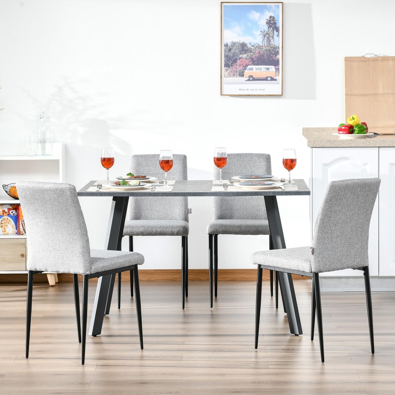 HOMCOM Küchenstühle Esszimmerstühle mit Rückenlehne Grau