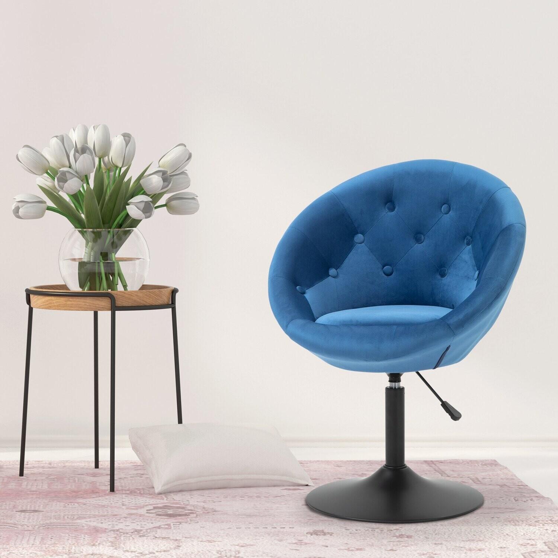 HOMCOM® Barhocker Drehhocker Drehstuhl Stahl höhenverstellbar Polyester+Stahl Blau