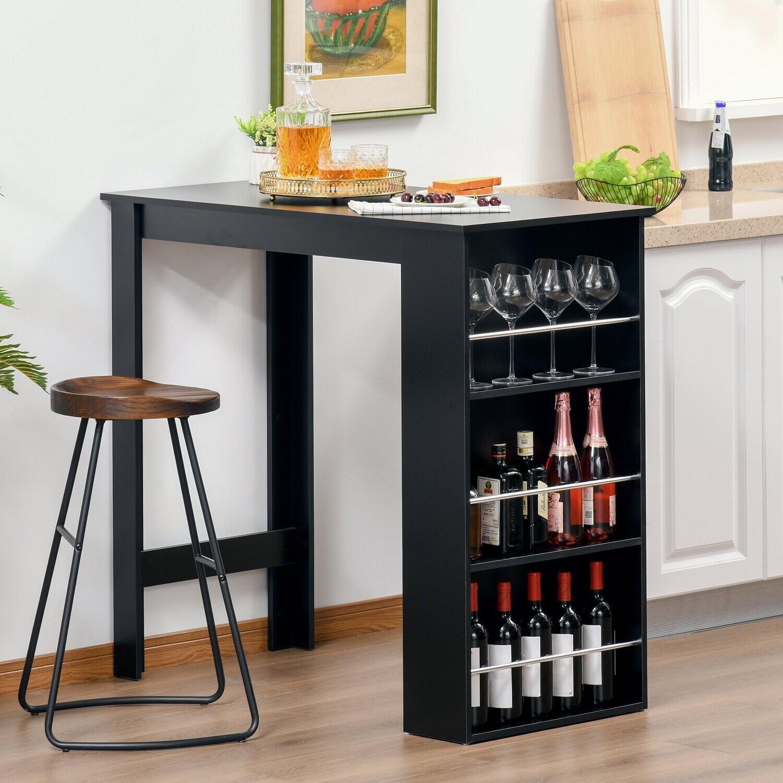 HOMCOM® Bartisch Schreibtisch Küchentisch mit 3 Ablageflächen Spanplatte Schwarz