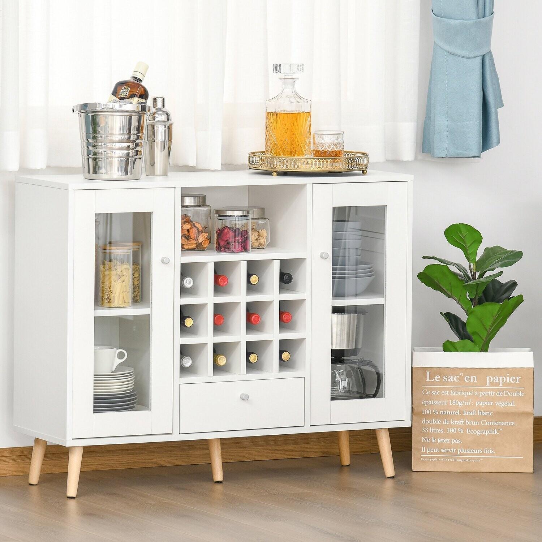 HOMCOM® Küchenschrank Sideboard mit Glastüren Schublade 12-Flaschen Weinregal