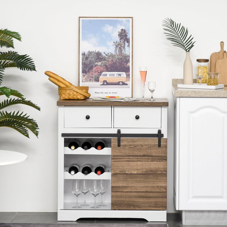 HOMCOM® Küchenschrank Sideboard mit 2 Schubladen Weinregal Schiebetür rustikal