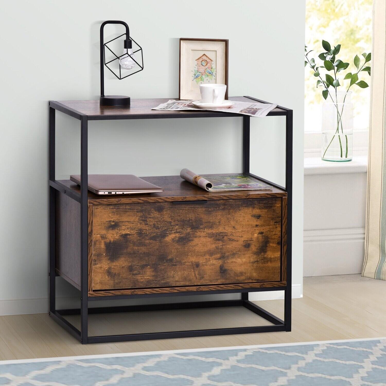 HOMCOM® Beistelltisch mit Schublade Betttisch Nachttisch Couchtisch Spanplatte Stahl
