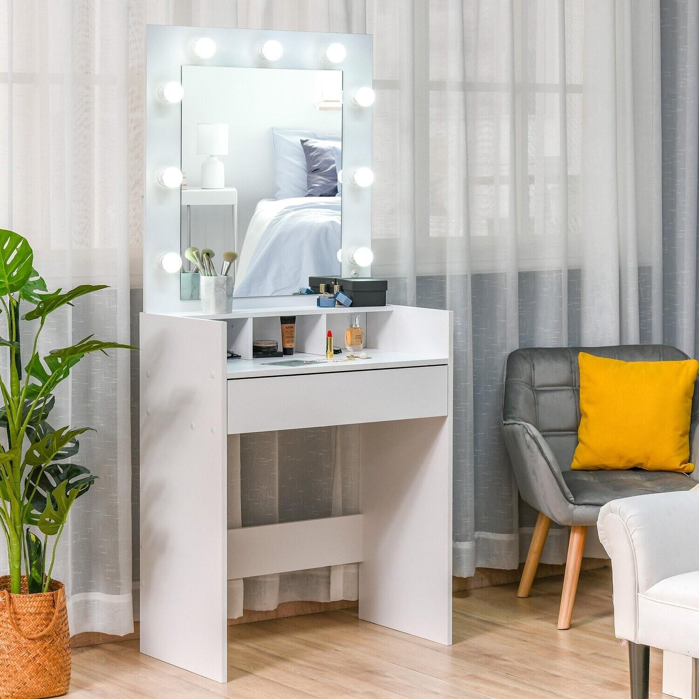 HOMCOM® Schminktisch Kosmetiktisch mit LED Spiegel Schublade 3 Ablagefächern Weiss