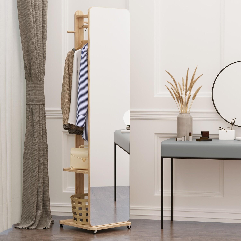 HOMCOM Standspiegel Ganzkörperspiegel mit Garderobe Schminkspiegel auf rollenden Rädern