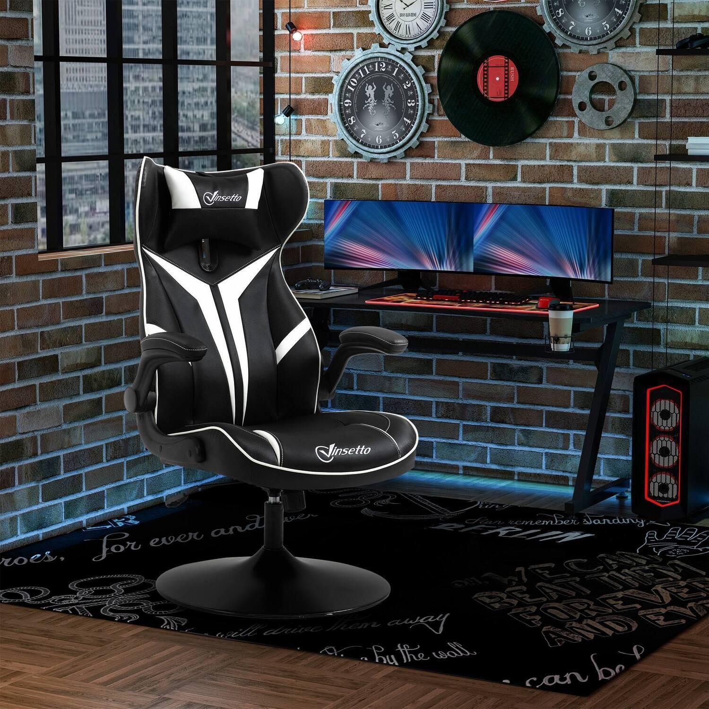 Vinsetto Gaming Stuhl mit Rallystreifen Schwarz Weiss 67 cm x 75 cm x 112 cm