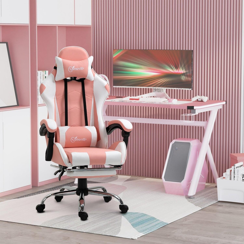 Vinsetto® Gamingstuhl Computerstuhl mit verstellbare Kopfstütze ergonomisch PVC Rosa+Weiss
