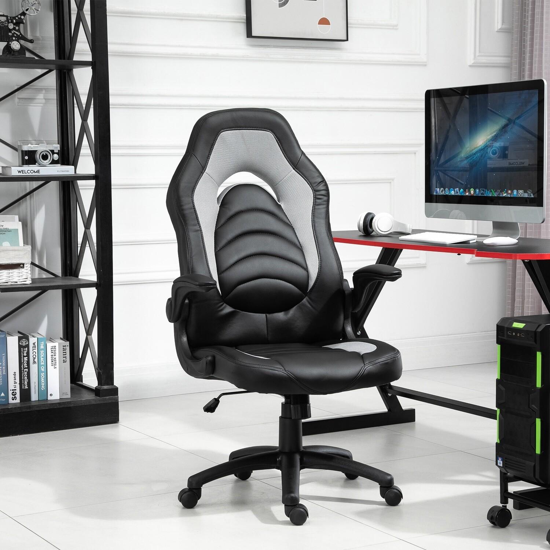 VINSETTO Gaming-Stuhl mit PU-Leder Grau 64 cm x 68,5 cm x 127 cm