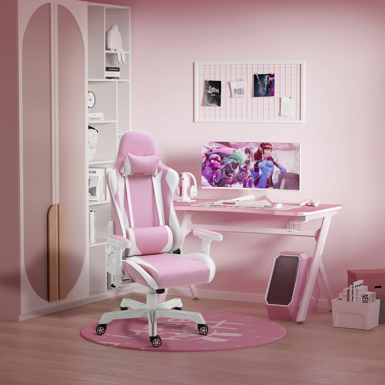 Vinsetto® Gamingstuhl Bürostuhl mit verstellbare Kopfstütze Kunstleder Nylon Rosa+Weiss