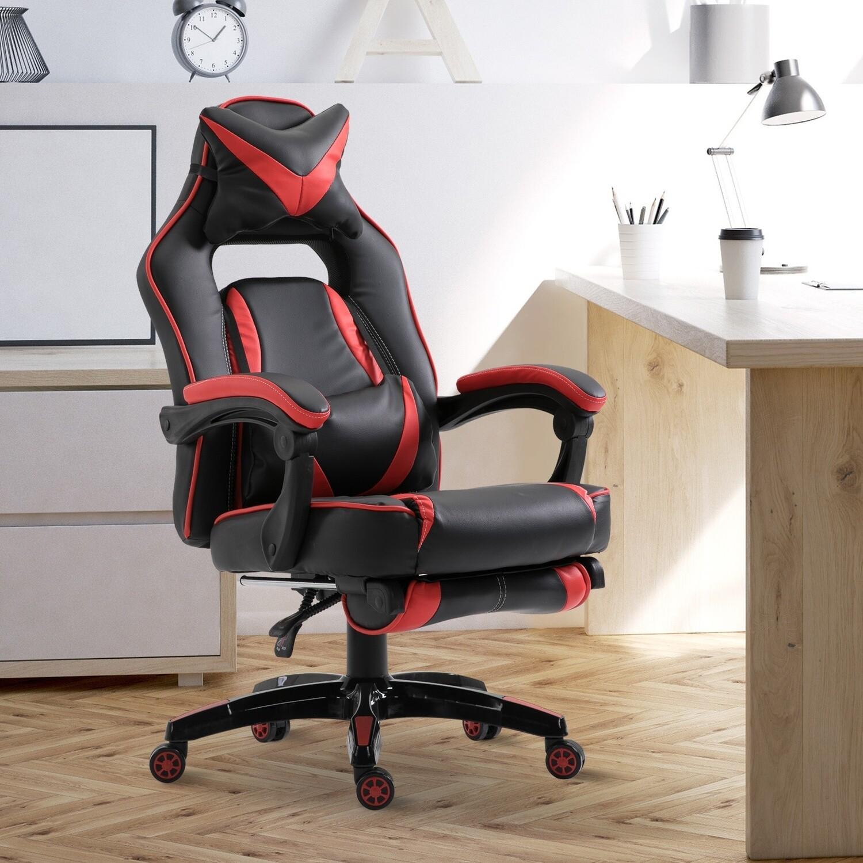 Vinsetto Gaming-Stuhl Bürostuhl Drehstuhl Chefsessel mit Fussstütze