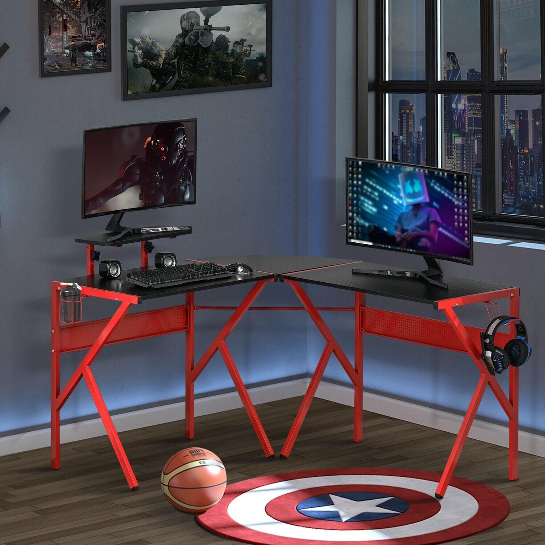 HOMCOM® Computertisch Schreibtisch mit Kopfhörerhaken Spanplatte Metall Schwarz+Rot