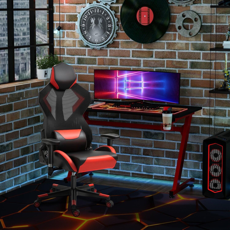 Vinsetto Gamingstuhl Bürostuhl mit Kopfstütze Kunstleder