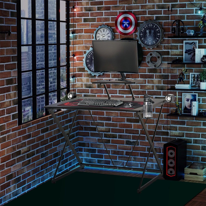 HOMCOM Gamingtisch Schreibtisch im Industrie-Stil Schwarz 106 cm x 60 cm x 93,5 cm