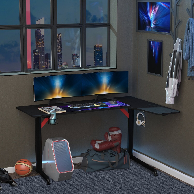 HOMCOM Gaming-Tisch Schreibtisch Schwarz+Rot