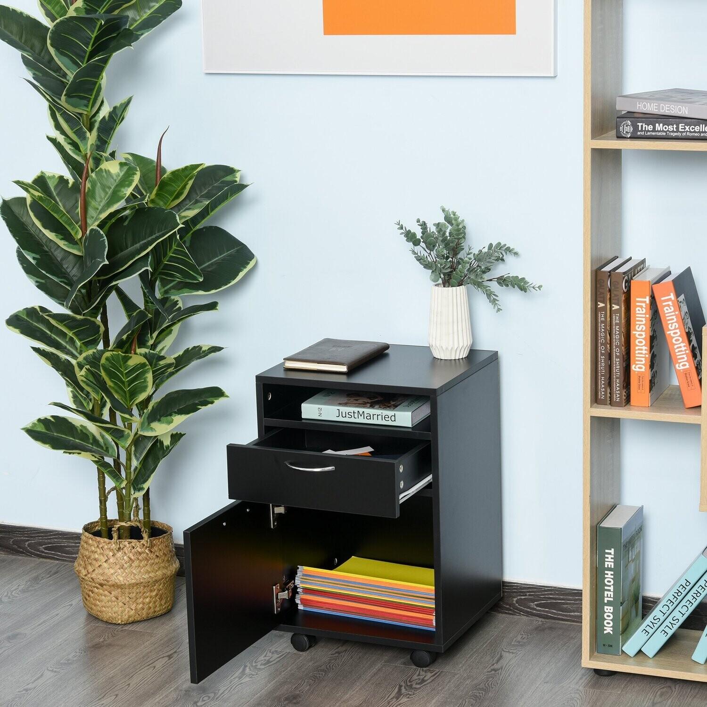 HOMCOM® Rollcontainer Aktenschrank Bürocontainer mit Schublade Büroschrank Schwarz