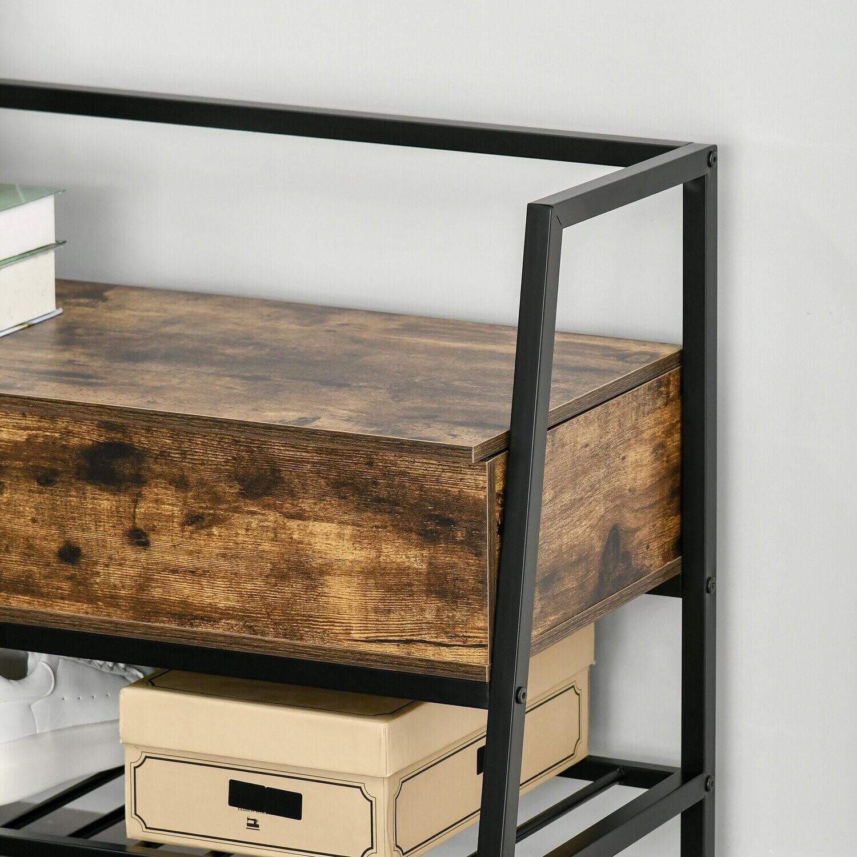 HOMCOM® Schuhbank Sitzbank Sitztruhe Eingangsbereich grosser Lagerraum Metall