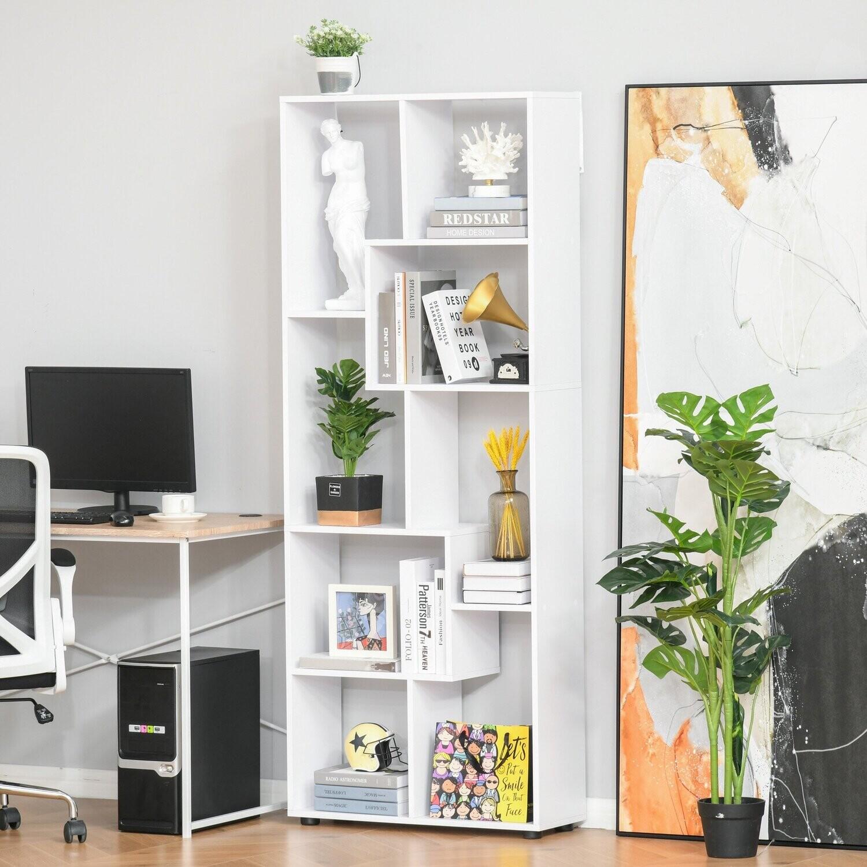 HOMCOM Bücherregal mit 8 Regalen Weiß 70 cm x 24 cm x 178 cm