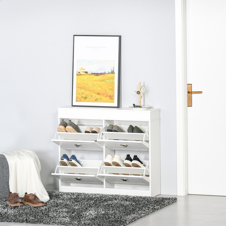 HOMCOM® Schuhschrank Schuhregal mit 4-Schubladen und verstellbarem Fachboden Weiss