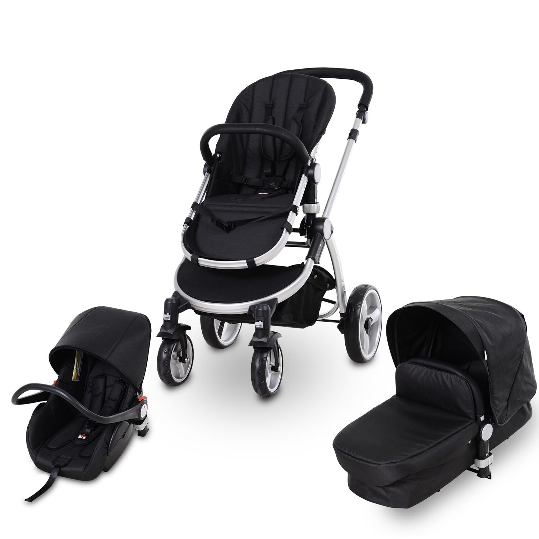 HOMCOM® Kinderwagen 3-in-1 Buggy Babyschale Babywanne Auto-Kindersitz 0-36 Monate Dunkelrau