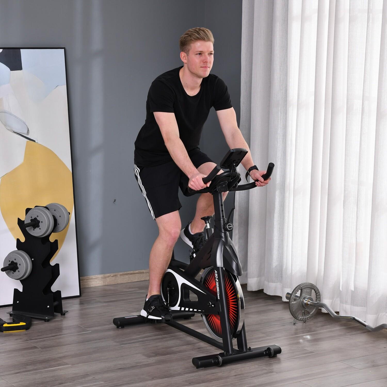 HOMCOM Fahrradtrainer Indoor Heimtrainer mit 13KG Schwungrad Stufenlos Rot+Schwarz