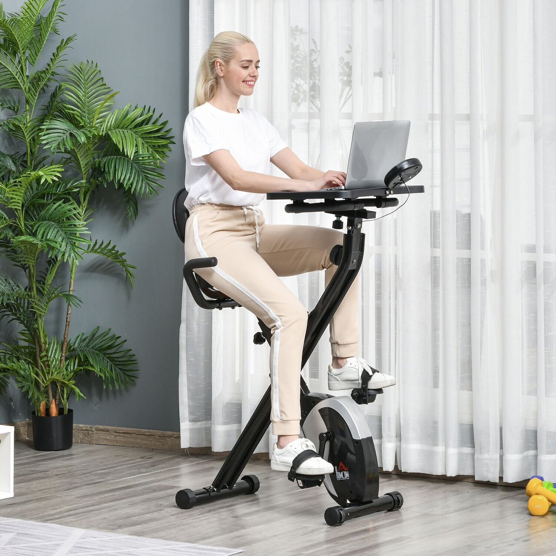 HOMCOM® Heimtrainer Fahrradtrainer Trimmrad 8 stufig einstellbar Rädern Stahl ABS