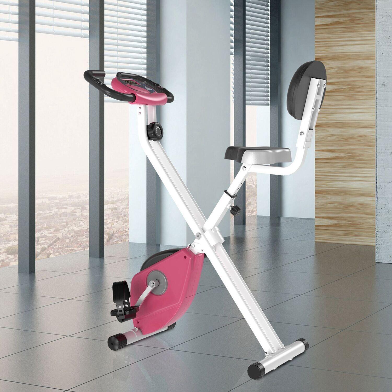 HOMCOM® Heimtrainer Fahrradtrainer mit 8 stufig Magnetwiderstand Stahl Rosa
