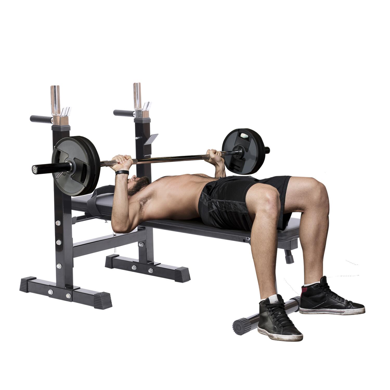 Homcom Hantelbank Trainingsbank Kraftstation Fitnesscenter Fitnessgerät mit Ablage klappbar