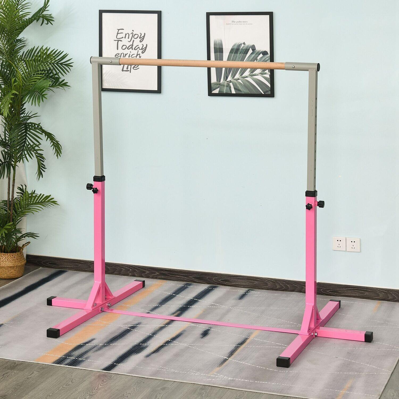 HOMCOM® Gymnastikstange Gymnastik Turnreck Reckstange 11 Stufen höhenverstellbar Rosa