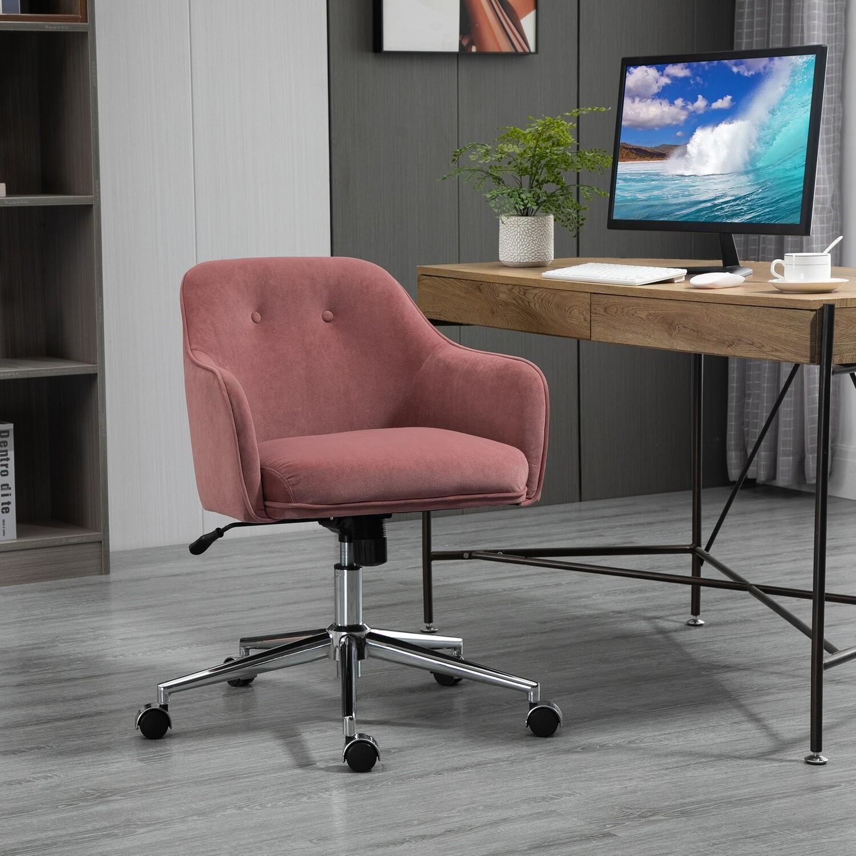 Vinsetto Bürostuhl mit Wippenfunktion Schreibtischstuhl Altrosa