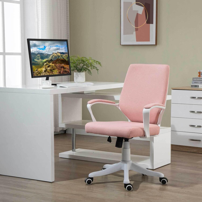 Vinsetto Bürostuhl ergonomischer Drehstuhl höhenverstellbar Rosa + Weiss