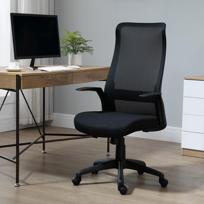 VINSETTO Bürostuhl mit Mesh-Gewebe Schwarz 62 cm x 62 cm x 122 cm