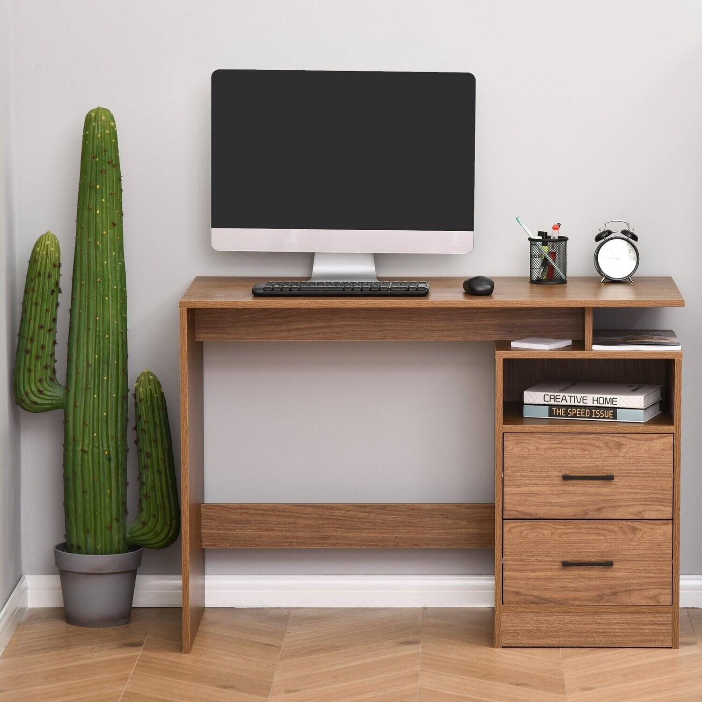HOMCOM Schreibtisch Computertisch mit offenen Ablagen und Schubladen