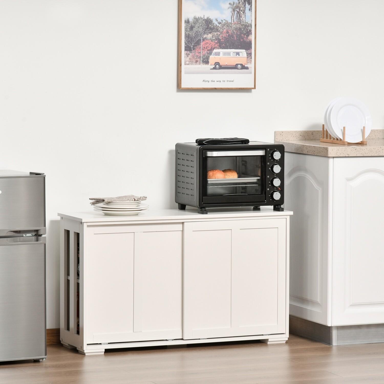 HOMCOM Küchenschrank mit Schiebetüren Weiss Kommode Sideboard 106,5 cm x 33 cm x 63 cm