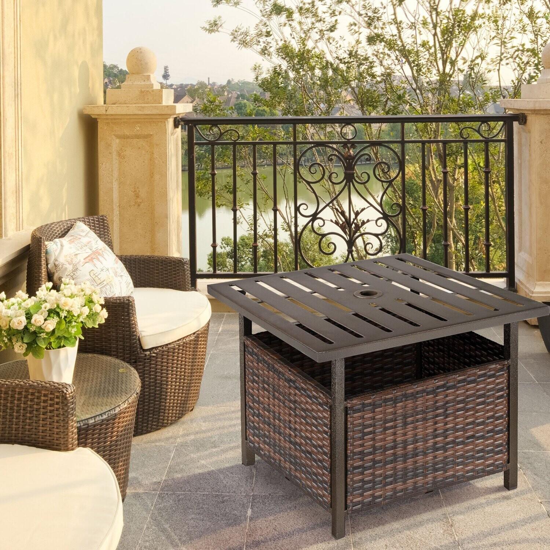 Outsunny® Rattantisch Gartentisch Kaffeetisch mit Schirmloch Balkon Braun