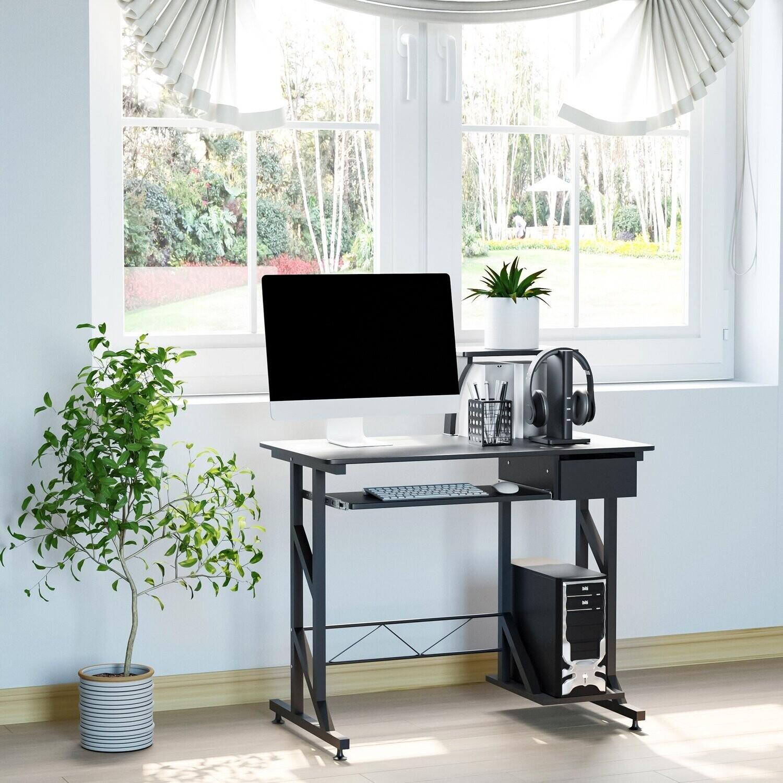 HOMCOM Computertisch Schreibtisch mit Regalen und Schubladen 90 cm x 50 cm x 95 cm