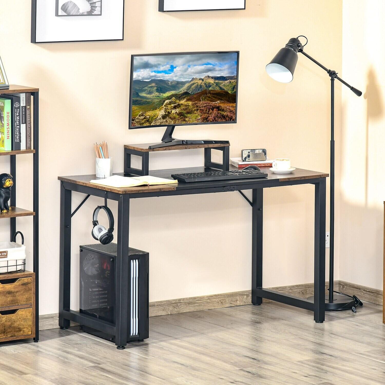 HOMCOM Computertisch Braun Schwarz 120 cm x 60 cm x 73,5 cm