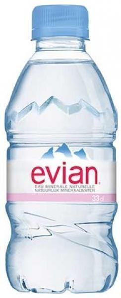 Evian Eau Minerale Naturelle Stilles Wasser (24 x 0,33 Liter PET Flaschen) = 7,96 Liter