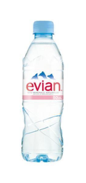 Evian Eau Minerale Naturelle Stilles Wasser (24 x 0,5 Liter PET Flaschen) = 12 Liter