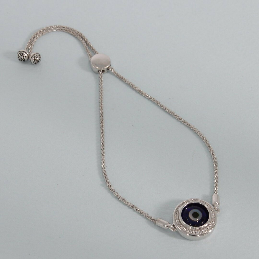 Ella Stein Evil Eye Bolo Bracelet (Silver)