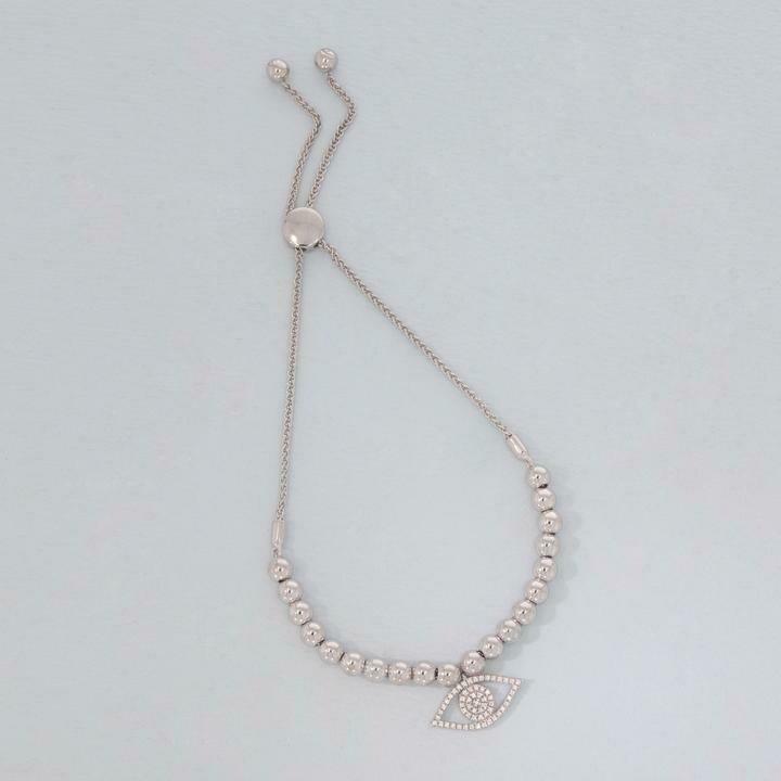 Ella Stein Evil Eye Beaded Bracelet (Silver)