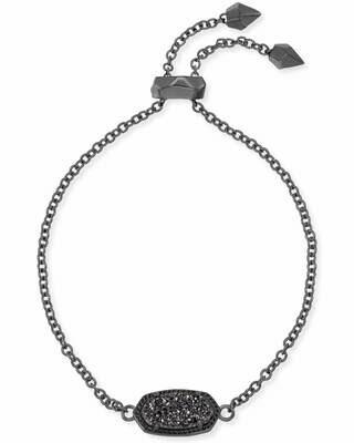 Kendra Scott Elaina Gunmetal Adjustable Chain Bracelet In Black Drusy