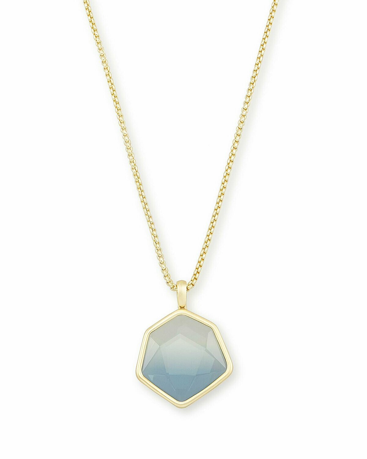 Kendra Scott Vanessa Gold Long Pendant Necklace In Steel Gray Ombre