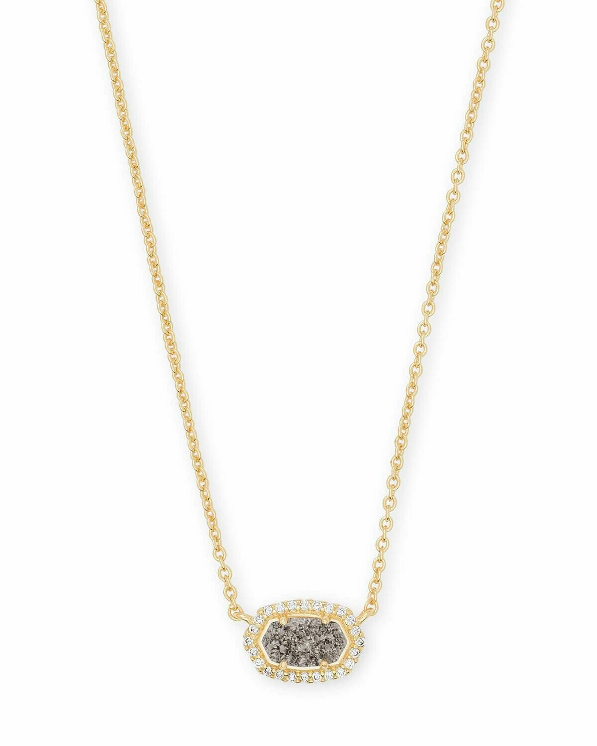 Kendra Scott Chelsea Gold Pendant Necklace In Platinum Drusy