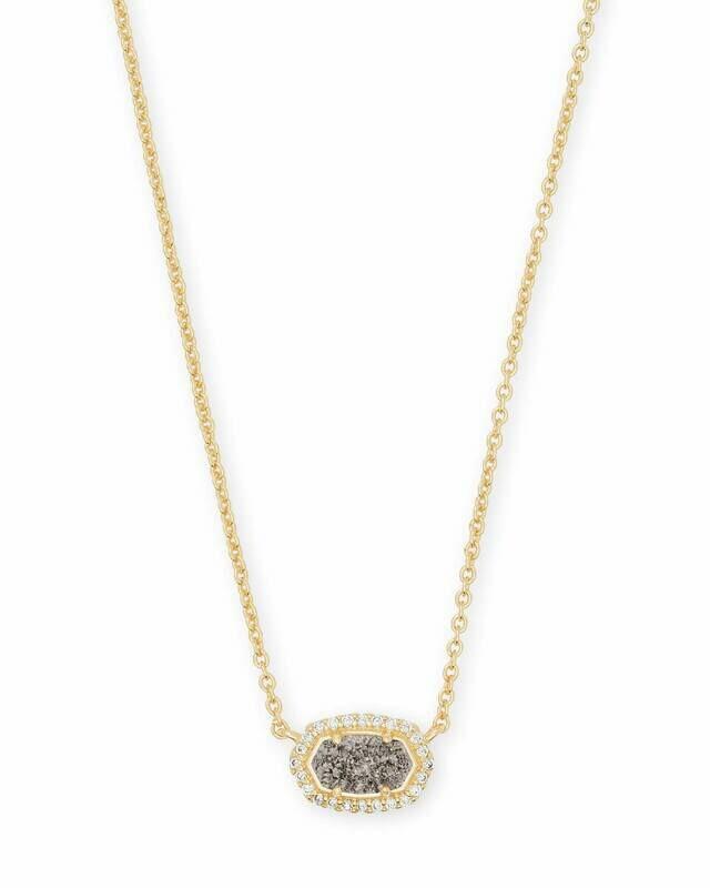 Kendra Scott Chelsea Gold Pendant Necklace In Platinum Drusy