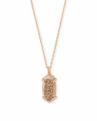Kendra Scott Harrison Rose Gold Pendant Necklace In Rose Gold Drusy