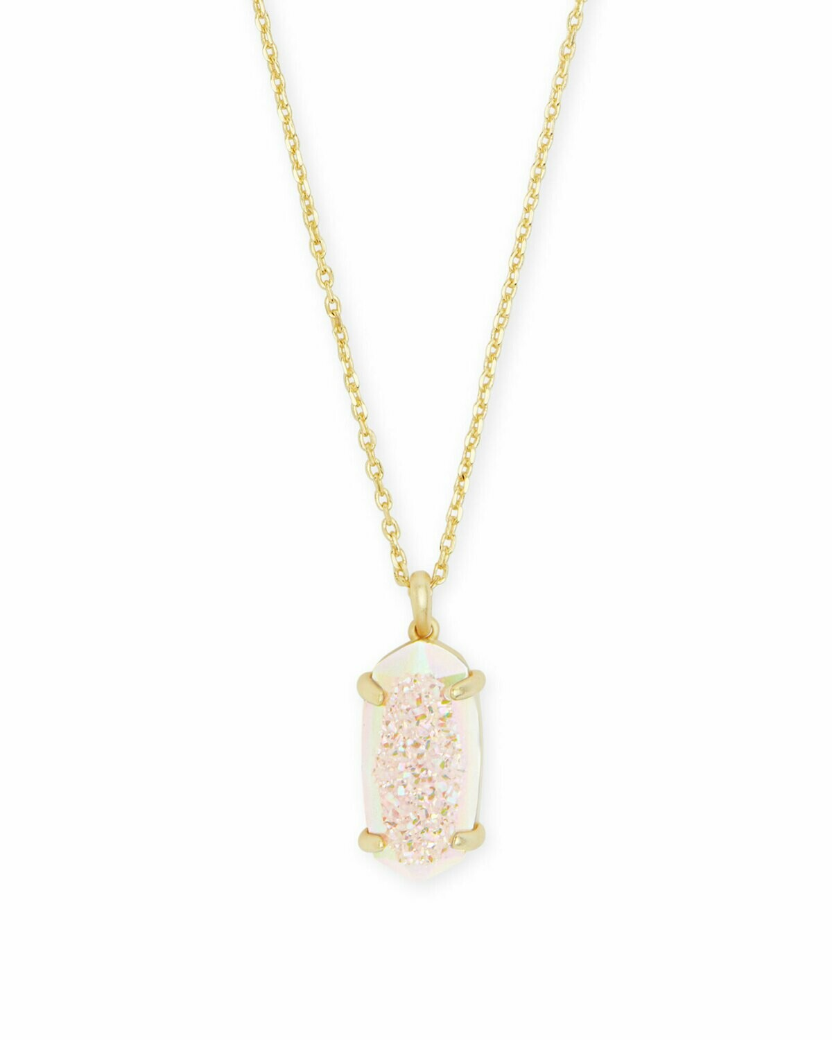 Kendra Scott Harrison Gold Pendant Necklace In Iridescent Drusy