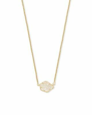 Kendra Scott Tess Gold Pendant Necklace In Iridescent Drusy