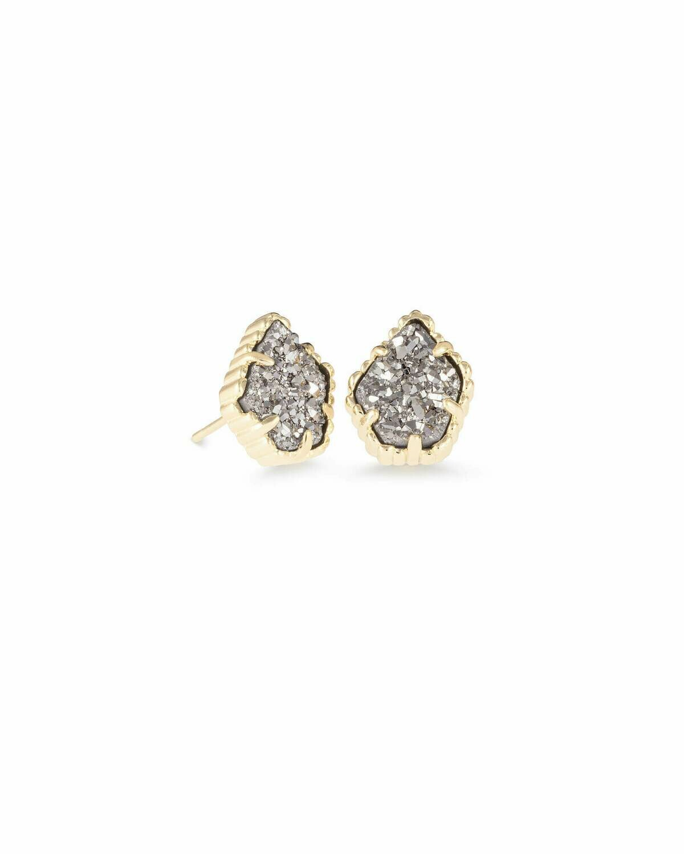 Kendra Scott Tessa Gold Stud Earrings In Platinum Drusy