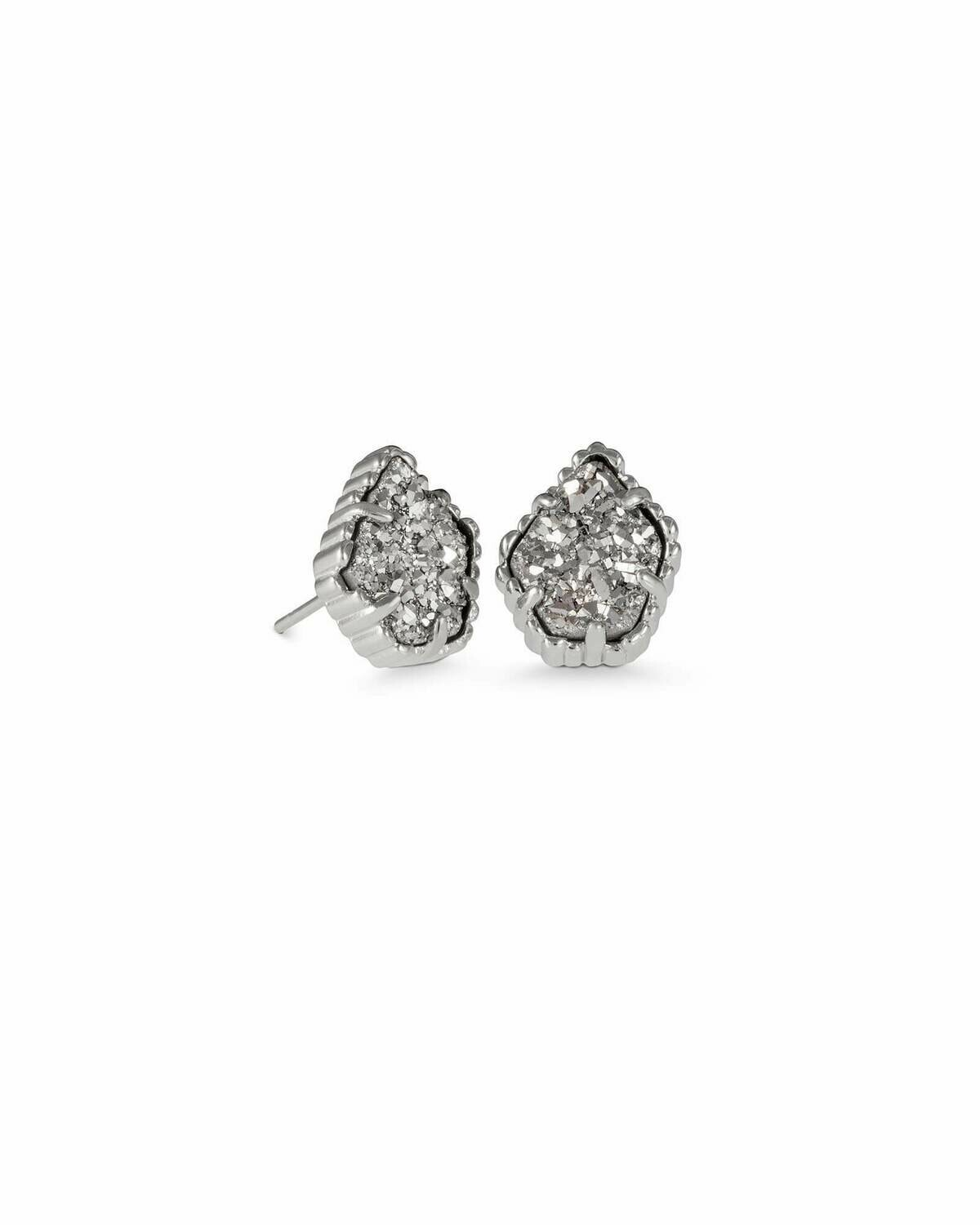 Kendra Scott Tessa Silver Stud Earrings In Platinum Drusy